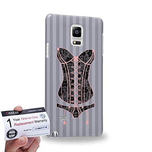 Case88 [Samsung Galaxy Note 4] 3D Hülle / Schutzhülle & Garantiekarte - Art Fashion Black And Peach Lace Corset