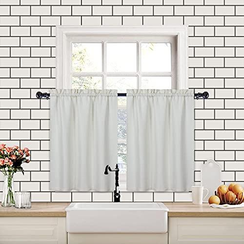 CAROMIO Cortinas de café con patrón de gofres, media cortina de ventana para ventana de cocina, estaño, cortinas impermeables para baño, beige, 76 x 60 cm, juego de 2