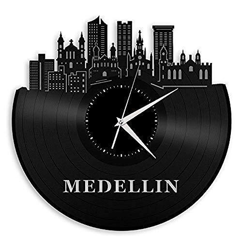 AIYOUBU - Medellin Colombia Vinilo Reloj de Pared Ciudad Skyline Dormitorio y Oficina |Decoración hogareña