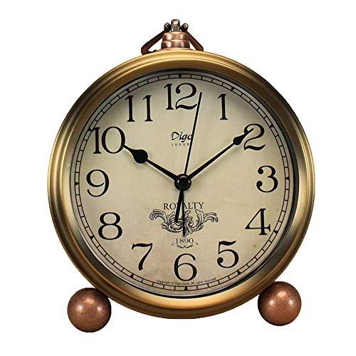 Saytay Klassische Retro-Uhr, goldener Tisch-Wecker, europäischer Stil, leiser Schreibtisch-Wecker, kein Ticken, Quarzwerk, batteriebetrieben, HD-Glaslinse, leicht zu lesen (SZ1)