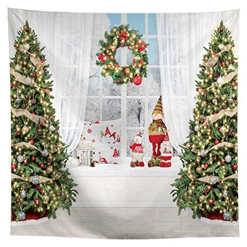 Allenjoy 8x8ft Christmas White Window Photography Backdrop Supplies for Winter Xmas New Year Portrait Pictures Shoot Props Kids Birthday Party Pine Tree Decors Customizable Studio Photoshoot Favors