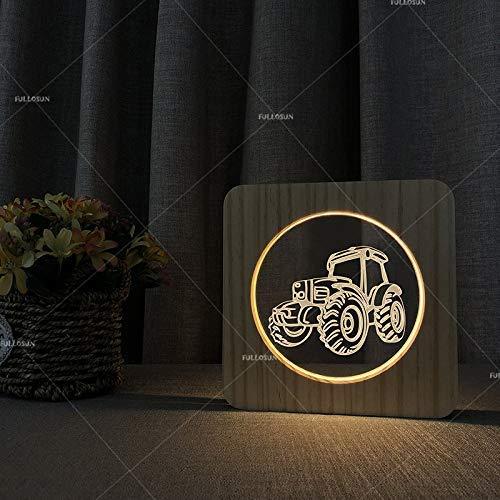 Tractor vorm acryl nacht licht massief hout nachtkastje tafellamp creatieve nacht licht