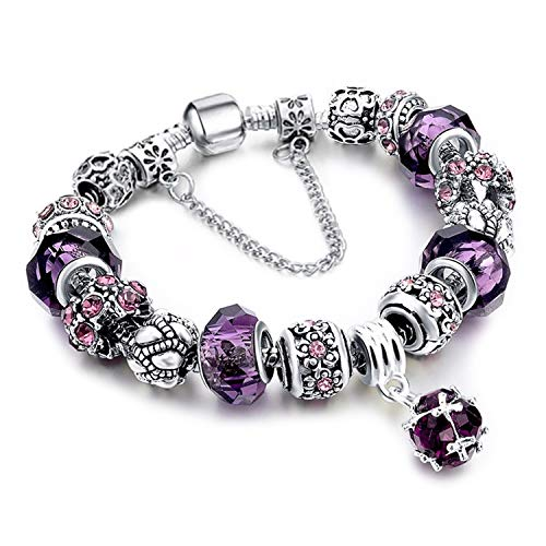 YOUFENG Love Beads Charms Bracelet for Girls and Women Murano Glass Beads Rose Flower Charms Amethyst Bracelets (Emoji Charm Bracelet)