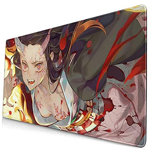 Demon Slayer Kamado Nezuko - Alfombrilla de ratón lavable para escritorio grande con base de goma para portátil de 15,8 x 29,5 pulgadas