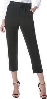 Women's Paper Bag Pants Casual Trousers Elastic Waist Slim Pants with Pockets