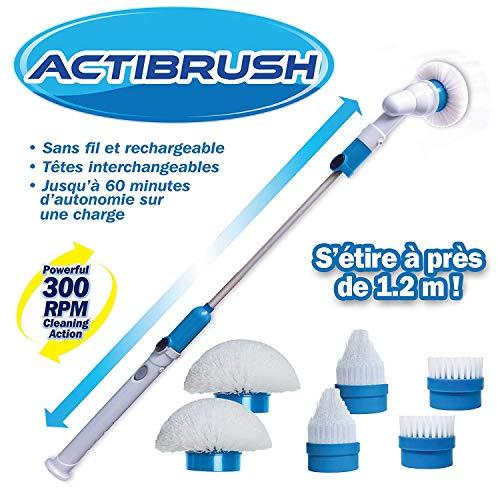 ACTIBRUSH + 6 Brosses - Brosse à récurer sans fil et rechargeable avec Rallonge - Rotation de 300 tours/mn - Désincruste en profondeur et sans efforts