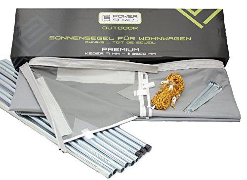 Powerseries® Wohnwagen Sonnensegel Sonnendach Vorzelt Premium | Stahlgestänge | Tiefe 240cm | Breite 300cm - 800cm | Ideal für Caravan und Reisemobile, Umlaufmaß:800-840 | Breite 420cm