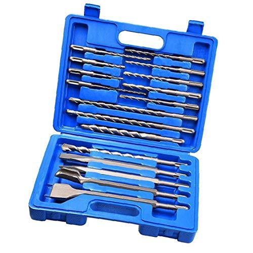 Albañilería Drill Bit Set de Martillo del cincel de Rotary Ronda mango del destornillador para hormigón y ladrillo con el azul del caso del almacenaje 17pcs, Accesorios para herramientas eléctricas