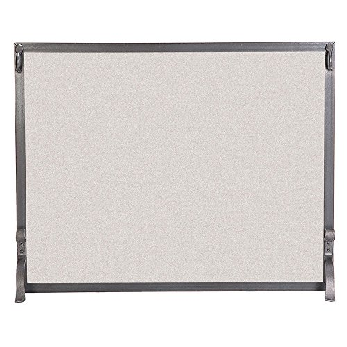 Pilgrim Home and Hearth 18282 Forged Single Panel Fireplace Screen, 39″W x 31″H 22 lbs, Vintage Iron