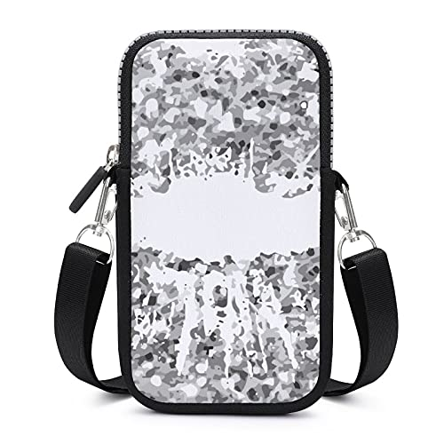Bolso bandolera para teléfono móvil con correa de hombro extraíble, con purpurina plateada, impermeable, para pulsera de teléfono, gimnasio, fitness, unisex,