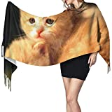 Elaine-Shop Cute Kitty Pose Pattern HD Print Cashmere Scarf Womens Casual Warm Scarf Wrap Chal grande