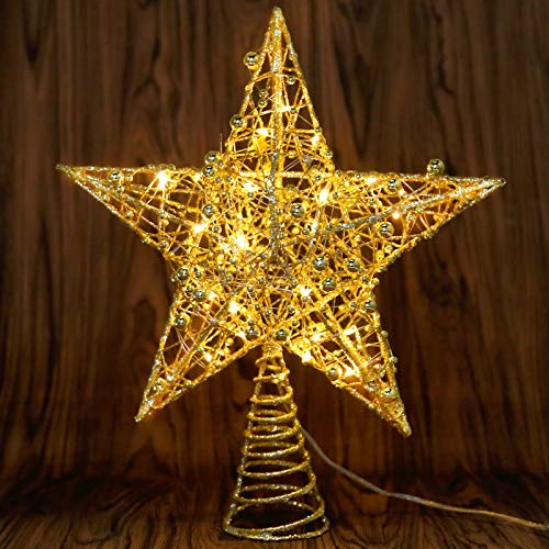 Christmas Tree Topper, Angela&Alex Swirl Design Sparkle Xmas Tree Topper with 30 LEDs Warm Light String Starry Night Light for Tree Topper Ornament Indoor Decorations Party Bedroom Home