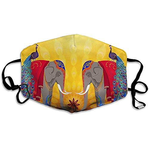 Unisex Mund Masken Schöne Indische Elefanten Und Pfauen Auf Gelb Küche Anti Staub Anti Verschmutzung Polyester Motorrad Gesichtsmaske Wiederverwendbar