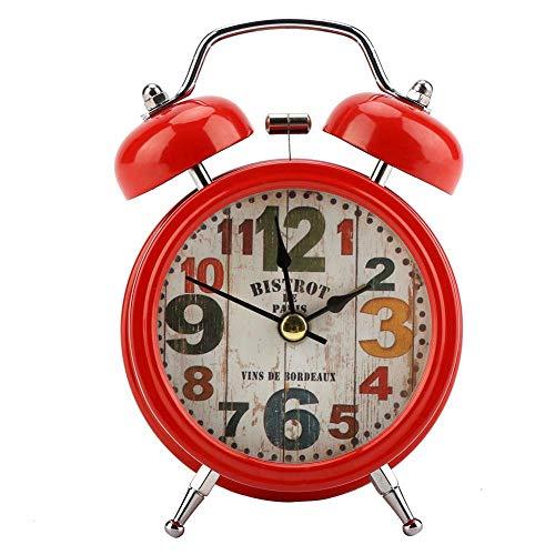 Reloj Despertador, Mini Metal Reloj Despertador Digital Silencio con Luces Centelleantes Bell Clásico Antiguo para Dormitorio, Dormitorio de Estudiantes