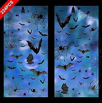 8 Sheet Halloween Window Clings 224 PCS Halloween Party Supplies Bats Spiders Ghosts Window Stickers Halloween Decorations Window Decals Party Supplies Window Decorations