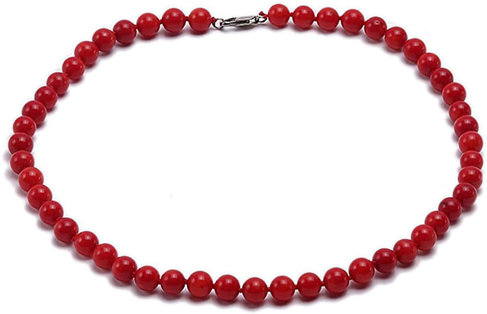 JYX Classic Gemstone Necklace OFFicial shop Natural 7mm Coral Max 43% OFF Round S Red 10mm