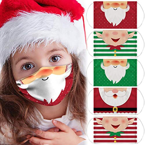 BLUKIDS Kids Christmas Costume Face_Mask for Adults Anti-Dust Cute Kawaii Elf Xmas Party Decor Ear Loop Funny Face Bandana Reusable & Washable Mouth Facemask Face Scarf (5 Pack)
