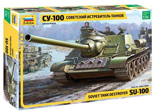 ZVEZDA Soviet Tank Destroyer WWII 500783688 1:35 SU-100 Soviet Tank Destroyer WWII - Maqueta de construcción de maquetas (Escala 1:35)