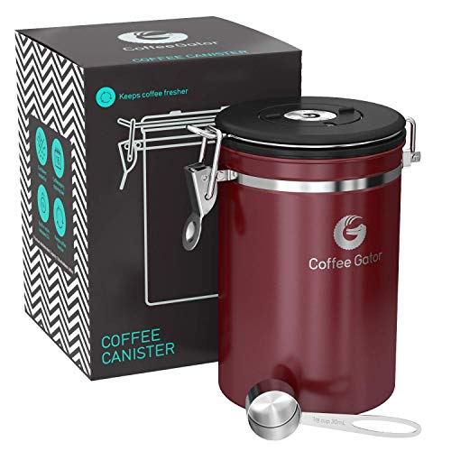 Coffee Canister - Coffee Gator Stainless Steel Coffee Container - Fresher Beans and Grounds for Longer - Date-Tracker, CO2-Release Valve and Measuring Scoop - Large, Red