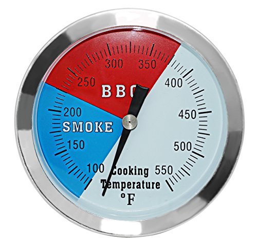DOZYANT 3 1/8 Inch Barbecue Charcoal Grill Smoker Temperature Gauge Pit BBQ Thermometer Fahrenheit and Heat Indicator for Meat Cooking Port Lamb Beef, Stainless Steel Temp Gauge