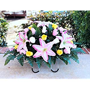 starbouquets Cemetery Saddle Flowers – Pink Yellow Cream Rose and Pink Lily Silk Flowers ~ Headstone Saddle Flowers