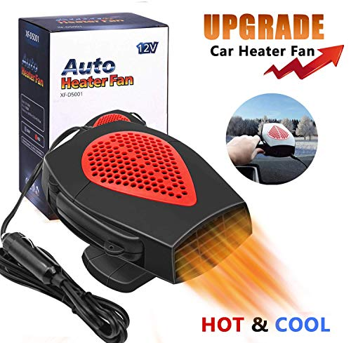 Portable Car Heater Car Windshield Defogger Defroster Auto Fast Heating or Cooling Fan 12V 150W Auto Ceramic Heater Fan 3-Outlet Plug in Cig Lighter