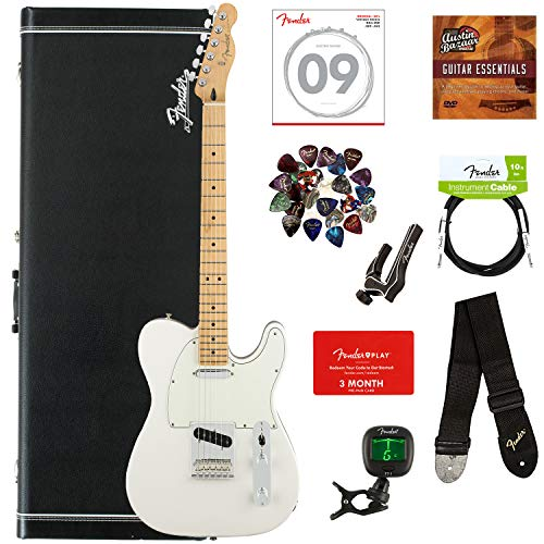 Fender Player Telecaster Bundle with Hardshell Case, Tuner, Strap, Instrument Cable, Strings, Picks, Capo, Fender Play Trial, and Austin Bazaar Guitar Essentials DVD - Polar White