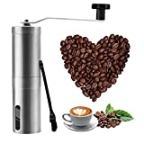 Manual Coffee Grinder, Stainless Steel Hand Coffee Grinder with Conical Ceramic Burr Mill, Portable Coffee Bean Grinder with Cleaning Brush for Coffee Bean, Office, Home, Traveling, Camping