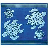 Delindo Lifestyle Frottee Strandtuch Tropical Turtle BLAU XXL, 100% Baumwolle, Strandlaken ist 180x200 cm groß