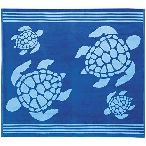 Delindo Lifestyle® Frottee Strandtuch Tropical Turtle BLAU XXL, 100% Baumwolle, Strandlaken ist 180x200 cm groß