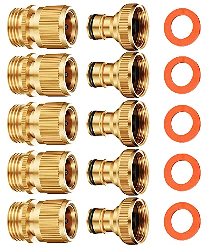 SHOWNEW Garden Hose Quick Connect, Solid Brass Water Hose Connector Fittings Male and Female Kit, Easy to Release, 3/4 inch GHT (5 Sets)