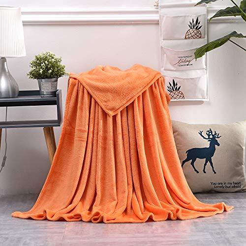 AiShengHuoAcc Flauschige Kuscheldecke – hochwertige Wohndecke, super weiche Fleecedecke als Sofaüberwurf, Tagesdecke oder Wohnzimmerdecke (Orange, 130x150 cm)