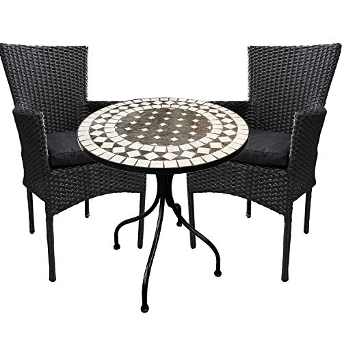Mojawo - Garden furniture set - 3 pieces - mosaic garden table + 2 poly rattan chairs black