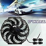 MASO Ventilador de enfriamiento del motor del coche de 12 pulgadas, ventilador eléctrico universal del radiador 12V 80W
