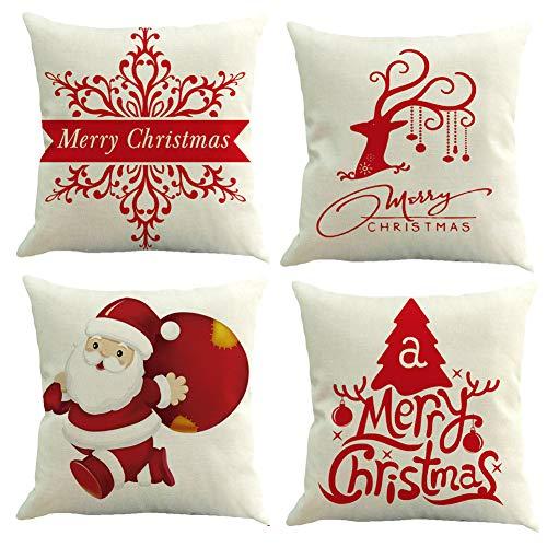 Set de 4 Fundas Navideñas para Cojines, Árbol de Navidad Reno del Copo de Nieve Decoración para el Hogar Fundas de Almohada de Lino Funda de Almohada Decorativa de Navidad Casa, 17.7 Pulgadas