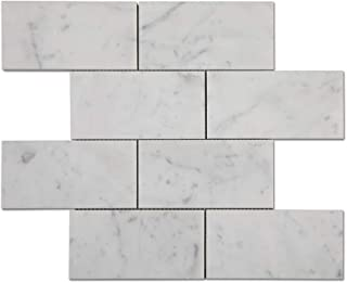 Diflart Carrara White Italian Bianco Carrera 3x6 Subway Tile Polished Pack of 5