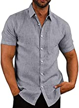 COOFANDY Men's Linen Shirt Textured Designer Western Work Regular Fit Shirt
