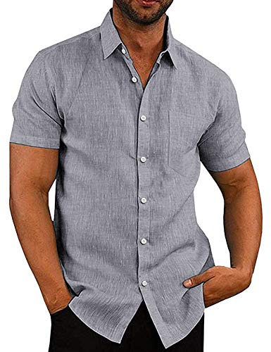 COOFANDY Herren Kurzarm Business Hemd Sommer Männer Work Shirt
