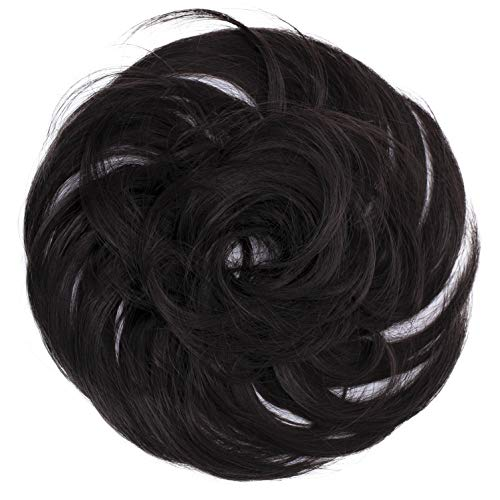 PRETTYSHOP Scrunchie Bun Up Do Hair piece Hair Ribbon Ponytail Extensions Wavy Curly or Messy Various Colors(dark brown 4A)