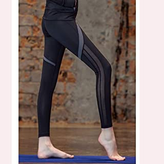 HXLG Womens Leggings with, Yoga Pants Capris Pants Running Tights Casual Trousers (Color : Black, Size : XXL)