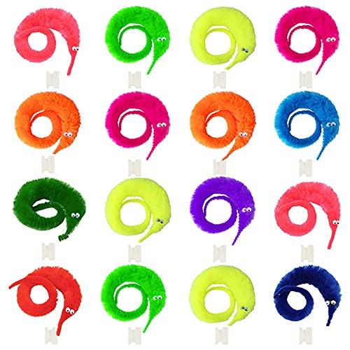 BOWTONG 80 piezas Magic Worm Toys, Twisty Juguetes en una cuerda Wiggly Fuzzy Worm Trick Toys Carnaval Party Favors (10 colores)