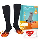 Jomst 5000mAh Heated Socks for Men Women up to 8-25 Hours of Heating 3 Heating Settings Rechargeable Electric Heated Socks Winter Warm Socks for Skiing Camping Running Fishing (black2)