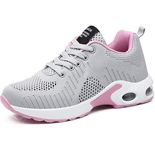 GAXmi Damen Laufschuhe Luftkissen Mesh Air Atmungsaktiv Turnschuhe rutschfest Stoßfest Sportschuhe Grau Pink 41 EU