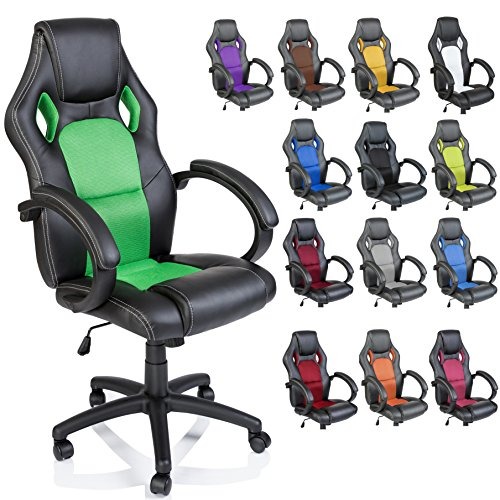 Racing Chefsessel Bürostuhl Drehstuhl 14 Farbvarianten, gepolsterte Armlehnen, Wippmechanik, Lift SGS geprüft (schwarz/grün)