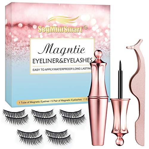 Faux Cils Magnétique,Eyeliner Magnétique Kit,3D Magnetic Eyeliner Kit de Cils Magnétiques, Réutilisable, Faux...