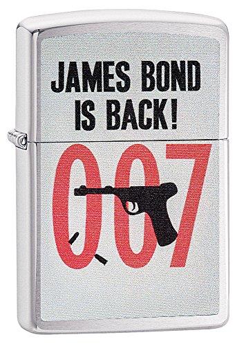 Zippo, James Bond-Feuerzeug, offizielles Lizenzprodukt, windsicher, langlebig M gebürstetes Chrom