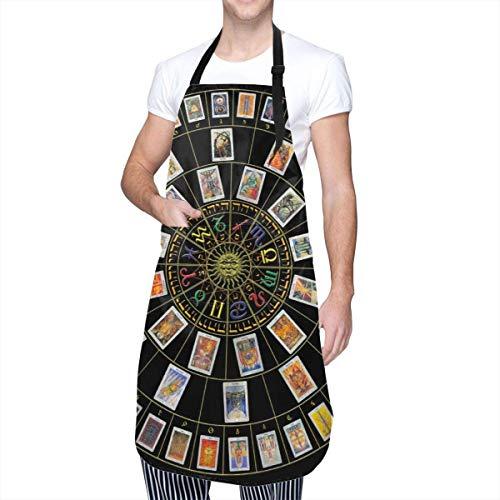 Astrology Tarot Delantales artísticos originales para mujer Bata impermeable a prueba de aceite Cocina Resistente al agua con bolsillos grandes Delantal lindo ajustable Barbacoa creativa Hornear para