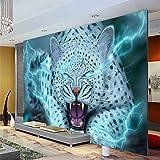 MGQSS Tapete Wandgemälde Wandkunst Fantasy Leopard Tier 3D Selbstklebend PVC Wandgemälde Essen und Trinken Café Geschäft Restaurant Bekleidungsgeschäft Jahrgang Thema Hintergrundwan (B)300x(H)210 cm