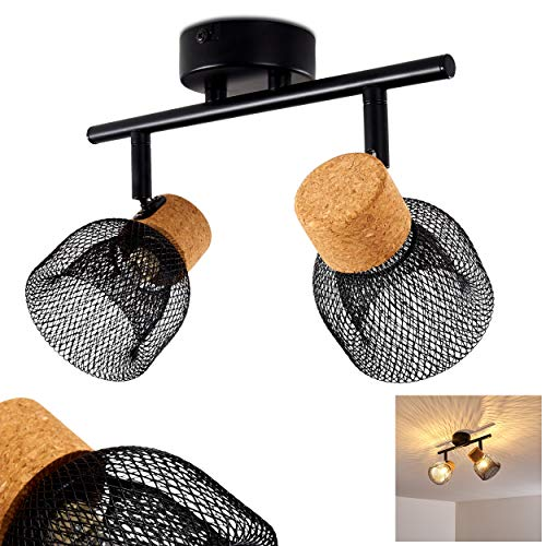 Deckenleuchte Grongroft, Deckenlampe aus Metall/Kork in Schwarz/Braun, 2-flammig, mit verstellbaren Strahlern, 2 x G9-Fassung max. 6 Watt, Spot im Retro/Vintage Design m. Lichteffekt, LED geeignet