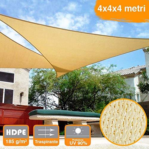 BAKAJI Vela Telo Parasole Tenda Triangolare Ombreggiante in HDPE 4x4x4 Mt Resistente Protezione UV 90% per Ombra Giardino Terrazzo con Aggancio Occhielli Beige (4 x 4 x 4 mt)